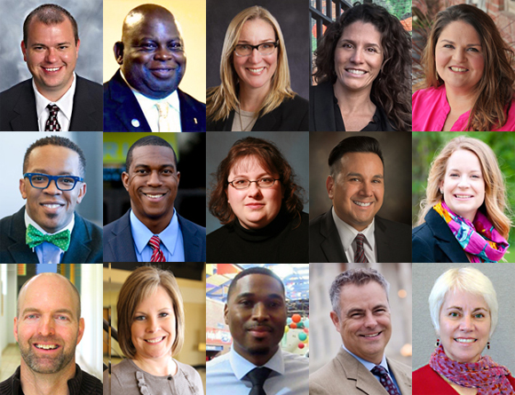 The 2018 Class of Advocacy Fellows, from left to right and top to bottom, as listed below.