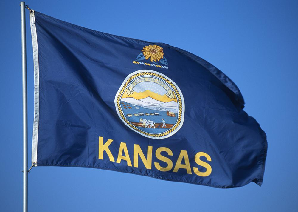 The Kansas State Flag, crowned by the Sunflower